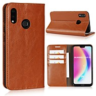 billiga Mobil cases & Skärmskydd-fodral Till Huawei P20 Pro / P20 lite Plånbok / Korthållare / Lucka Fodral Enfärgad Hårt Äkta Läder för Huawei P20 / Huawei P20 Pro / Huawei P20 lite