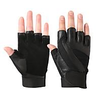 billige Sportsstøtter-Treningshansker til Trening & Fitness / Sykkel / Treningssenter Halvfingret / Pustende / Anti Glide Sau Leather Ett par Svart / Gul