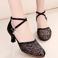 billige Moderne sko-Dame Moderne sko Blonder Høye hæler Tykk hæl Dansesko Gull / Svart / Sølv