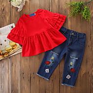 סט של בגדים חצי שרוול קפלים אחיד חגים פעיל / בסיסי בנות תִינוֹק / פעוטות