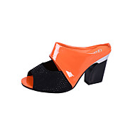 cheap -Women's PU(Polyurethane) Summer Slingback Sandals Chunky Heel Black / Orange / Beige
