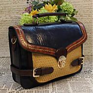 baratos Bolsas Satchel-Mulheres Bolsas PU Bolsa Carteiro Botões Preto / Vinho