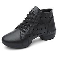 billige Dansesneakers-Dame Dansesko Nappa Lær / Lær Joggesko Kubansk hæl Dansesko Hvit / Svart / Mørkerød
