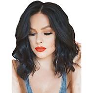 Pelucas sintéticas / Peluca Lace Front Sintéticas Ondulado Kardashian Estilo Parte media Encaje Frontal Peluca Negro Negro Natural Marrón Oscuro Pelo sintético Mujer Ajustable / Resistente al Calor