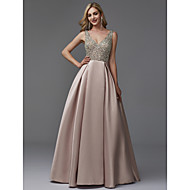 cheap -Dress Barn Style A-Line V Neck Floor Length Satin / Sequined Prom / Formal Evening Dress with Beading by TS Couture®