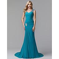 Funda / Columna Escote en Pico Corte Raso Evento Formal Vestido con Detalles de Cristal / Recogido Lateral por TS Couture®