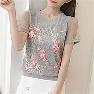 T-shirt til kvinder - solid farvet rund hals