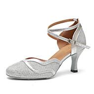 billige Moderne sko-Dame Moderne sko Lakklær Høye hæler Rynker Kubansk hæl Dansesko Svart / Sølv / Naken