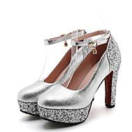 cheap -Women's Shoes PU(Polyurethane) Summer Basic Pump Heels Chunky Heel Round Toe Rhinestone Gold / Silver / Red / Wedding / Party & Evening