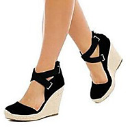 cheap -Women's Shoes Suede Spring & Summer D'Orsay & Two-Piece / Basic Pump Sandals Wedge Heel Open Toe Black / Blue / Party & Evening
