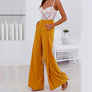 Women's Street chic Loose Wide Leg Pants - Solid Colored Ruched High Waist White / Going out / Work / Sexy