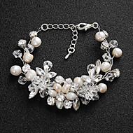 billiga Brudsmycken-Dam Kristall Armband - Pärla Blomma Europeisk, Mode Armband Silver Till Bröllop Dagligen