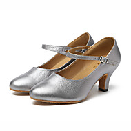 billige Moderne sko-Dame Moderne sko Lær Joggesko Kubansk hæl Kan spesialtilpasses Dansesko Sølv