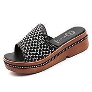 cheap -Women's PU(Polyurethane) Summer Comfort Slippers & Flip-Flops Creepers Round Toe Gold / Black / Silver