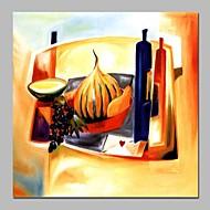 hesapli Natürmort Resimler-Hang-Boyalı Yağlıboya Resim El-Boyalı - Soyut / Natürmort Modern Tuval