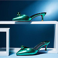 baratos Sapatos Femininos-Mulheres Sapatos Pele Napa Primavera Verão Conforto / Chanel Tamancos e Mules Salto Agulha Dedo Fechado Roxo / Verde / Champanhe