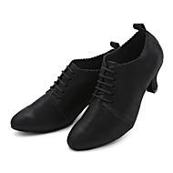 billige Kustomiserte dansesko-Dame Moderne sko Nappa Lær Joggesko Rynker Kubansk hæl Kan spesialtilpasses Dansesko Svart