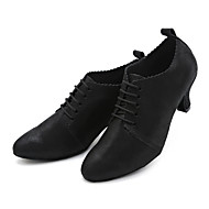billige Moderne sko-Dame Moderne sko Nappa Lær Joggesko Rynker Kubansk hæl Kan spesialtilpasses Dansesko Svart