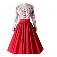Dame I-byen-tøj Vintage Bomuld A-linje Kjole - Blomstret Midi U-hals
