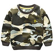 Børn Drenge Basale Daglig Farveblok Broderi Langærmet Normal Bomuld / Polyester Hættetrøje og sweatshirt Army Grøn