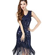 Femme Gatsby le magnifique Déguisements  Vintages Mousseline de soie Années 20 Vingtaine Robe à clapet Mi-long pour Soirée Fête scolaire / Paillettes