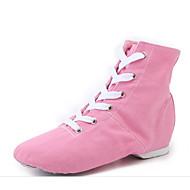 billige Jazz-sko-Dame Jazz-sko Lerret Flate Kubansk hæl Dansesko Svart / Rød / Rosa / Ytelse / Trening