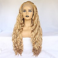 Synthetic Lace Front Wig Wavy Minaj Style Middle Part Lace Front Wig Golden Strawberry Blonde Synthetic Hair Women's Heat Resistant / Elastic / Women Golden Wig Long / Yes