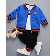 مجموعة ملابس قطن كم طويل مخطط أساسي للصبيان طفل / طفل صغير