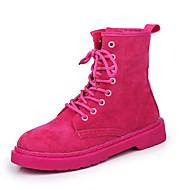 baratos Sapatos Femininos-Mulheres Sapatos Camurça Outono & inverno Botas da Moda Botas Caminhada Salto Baixo Ponta Redonda Botas Curtas / Ankle Preto / Fúcsia