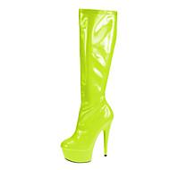 お買い得  レディースブーツ-女性用 靴 PUレザー 冬 ファッションブーツ ブーツ スティレットヒール / プラットフォーム ジッパー レッド / グリーン / ブルー / パーティー