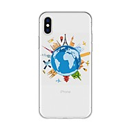 billiga Mobil cases & Skärmskydd-fodral Till Apple iPhone X / iPhone 8 Plus Mönster Skal Tecknat / Utsikt över Staden Mjukt TPU för iPhone X / iPhone 8 Plus / iPhone 8