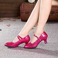 billige Moderne sko-Dame Moderne sko Syntetisk Høye hæler Strå Kubansk hæl Kan spesialtilpasses Dansesko Fuksia / Rød / Blå