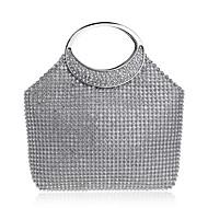 baratos Bolsas Tote-Mulheres Bolsas Poliéster / Liga Tote Detalhes em Cristal Dourado / Prateado