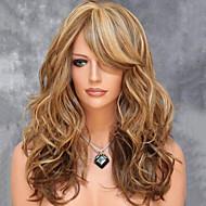 Synthetische pruiken Golvend Blond Gelaagd kapsel Synthetisch haar Zijdeel / Met Bangs / Voor Europees Blond Pruik Dames Gemiddelde Lengte / Gemiddelde lengte Zonder kap Bruin