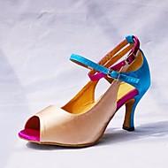 billige Sko til latindans-Dame Sko til latindans Sateng Høye hæler Slim High Heel Dansesko Mandel / Ytelse / Lær / Trening