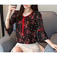 Bluza Žene Dnevno Geometrijski oblici V izrez Crn XL / flare rukav