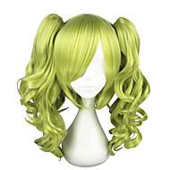 Pelucas de Broma Rizado Estilo Corte a capas Sin Tapa Peluca Verde Verde Pelo sintético Mujer Cosplay Verde Peluca Longitud Mediana Peluca de cosplay