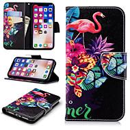 billiga Mobil cases & Skärmskydd-fodral Till Apple iPhone X / iPhone 8 Plus Plånbok / Korthållare / med stativ Fodral Flamingo Hårt PU läder för iPhone X / iPhone 8 Plus / iPhone 8