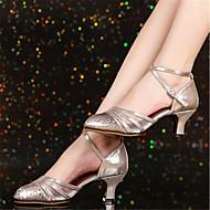 billige Kustomiserte dansesko-Dame Moderne sko Polyester Høye hæler Kubansk hæl Kan spesialtilpasses Dansesko Sølv / Rød / Kakifarget
