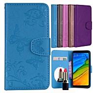 Capinha Para Xiaomi Redmi Note 5 Pro Porta-Cartão / Flip / Estampada Capa Proteção Completa Sólido / Borboleta Rígida PU Leather para Xiaomi Redmi Note 5 Pro