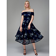 cheap -A-Line Off Shoulder Tea Length Chiffon / Lace Cocktail Party / Prom Dress with Embroidery by TS Couture®