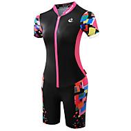 ieftine -Malciklo Pentru femei Manșon scurt Costum - Negru/Roz Bicicletă Design Anatomic, Rezistent la Ultraviolete, Respirabil, Κατά του ιδρώτα,