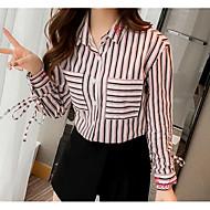 Dame - Ensfarvet Kvast Vintage Bluse Sort og hvid