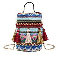 baratos Bolsas de Ombro-Mulheres Bolsas PU / Algodão Bolsa de Ombro Estampa Azul / Vermelho