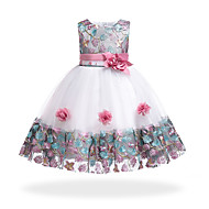 cheap -Kids Girls' Basic / Sweet Party / Holiday Floral / Patchwork Patchwork Sleeveless Knee-length Cotton / Polyester Dress Orange 2-3 Years(100cm)