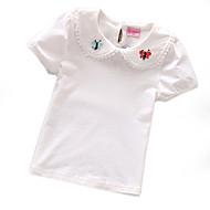 Kisgyermek Lány Alap Napi Egyszínű / Virágos Rövid ujjú Szokványos Poliészter Póló Fehér