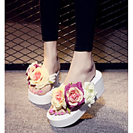 cheap -Women's Canvas Summer Comfort Slippers & Flip-Flops Wedge Heel Open Toe Satin Flower White / Black / Pink