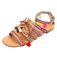 baratos Sapatos Femininos-Mulheres Sapatos Couro Ecológico Verão Conforto Sandálias Sem Salto Dedo Aberto Laço / Miçangas / Rendado Arco-íris / 3D