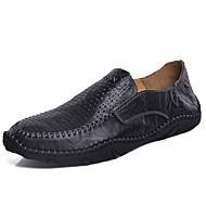 baratos Sapatos Masculinos-Homens Pele Primavera Verão Casual Mocassins e Slip-Ons Estampa Colorida Preto / Marron / Azul
