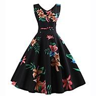 Dame Vintage Swing Kjole - Blomstret, Trykt mønster Knælang Sun Flower